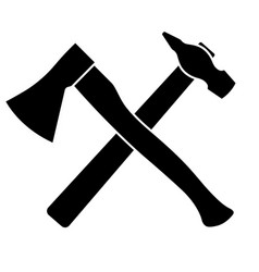 axe and hammer on a white background vector image