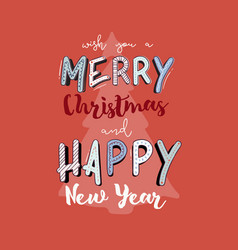 christmas and happy new year gift card hand draw vector image vector image