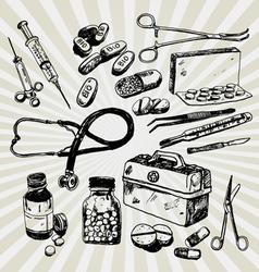 medical stuff hand drawn vector image