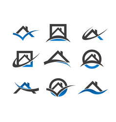 real estate house roof icons vector image vector image