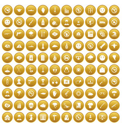 100 tension icons set gold vector image