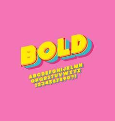 3d bold typeface color style vector image