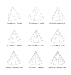 3d pyramids template realistic with shadow vector