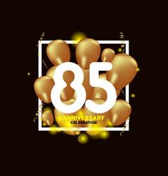 85 year anniversary white gold balloon template vector