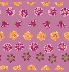 abstract summer flowers on a pink background vector image