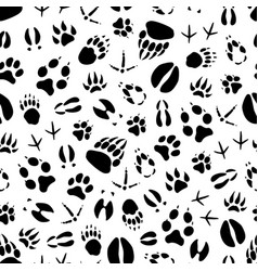 Animal and bird track seamless pattern background vector