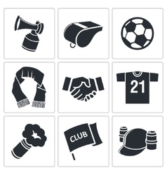 Attributes Soccer fan icon set vector