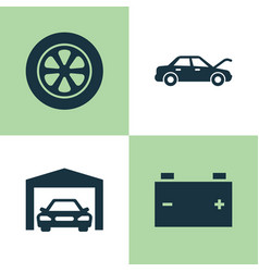 Automobile icons set collection of repairing vector