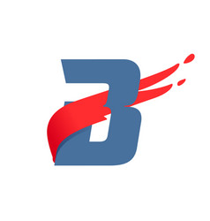 B letter logo with fast speed red flag line vector