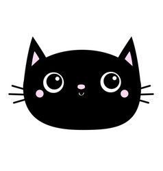 black cat head face oval icon with big eyes cute vector image
