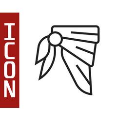Black line bandana or biker scarf icon isolated on vector
