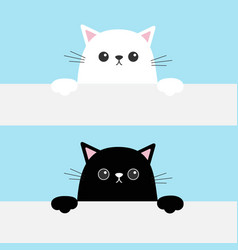 Black white funny cat head face hanging on paper vector