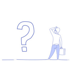 Businessman question mark pondering problem vector