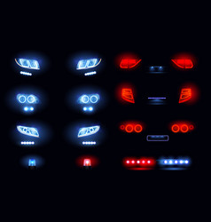 Car lights realistic set vector