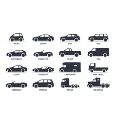 Car type and model objects icons set automobile vector