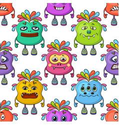 Cartoon monsters seamless vector