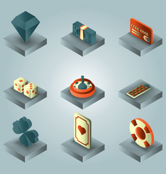 Casino color gradient isometric set vector