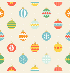 christmas ball seamless pattern in vintage style vector image