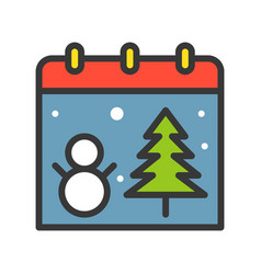 Christmas calendar christmas related filled vector