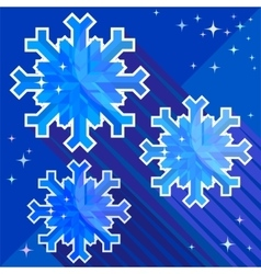 Composition of three snowflakes on a blue backgrou vector image