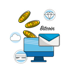 Computer with digital elements to bitcoin currency vector