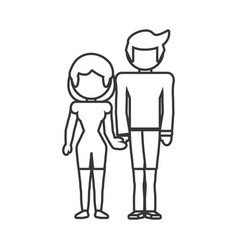 Couple parents family member outline vector