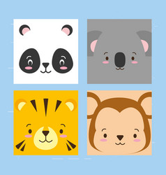 cuta faces animals vector image