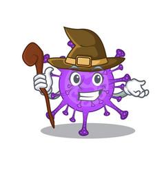 Cute and sneaky witch bovine coronavirus cartoon vector