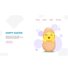 Cute little chick hatched from an egg vector