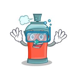 diving aerosol spray can character cartoon vector image