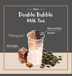 Double bubble milk tea ad content trendy vector