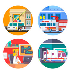 emergency call icons set flat vector image