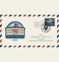 Envelope with white house and american flag vector