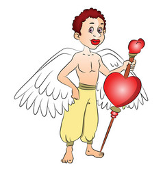 fairy boy with a heart shape symbol on bow vector image