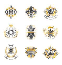 flowers royal symbols floral and crowns emblems vector image