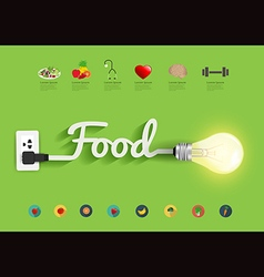 Food ideas concept creative light bulb design vector