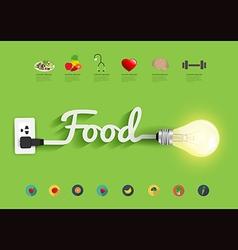 Food ideas concept creative light bulb design vector image