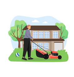 gardener mowing lawn cutting grass with lawn vector image