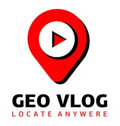 Geo vlog logo flat style vector