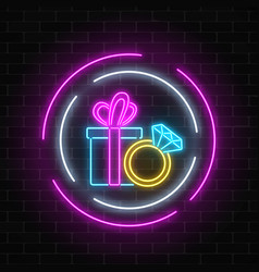 glowing neon banner with a gift box and a ring vector image