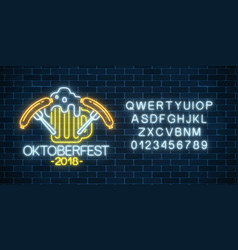 glowing neon sign of oktoberfest festival with vector image