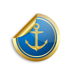 golden and blue nautical anchor sticker icon on vector image