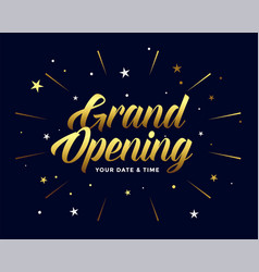Grand opening ceremony flyer in golden style vector
