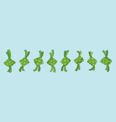 Green ketupat for ramadan and eid mubarak vector
