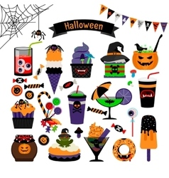 Halloween witchcraft sweets flat icons vector image