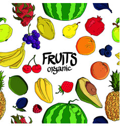 hand drawn fruit seamless pattern healthy food vector image