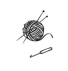 hand drawn icon knitting vector image