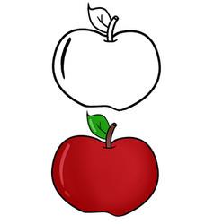 Hand drawn teacher red apple vector