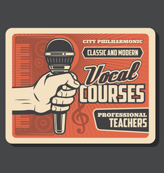 hand with microphone music and vocal school vector image