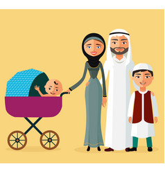 Happy arab couple with a newborn baby vector
